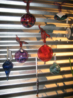 Glass ornaments on display at the Kimball Art Center