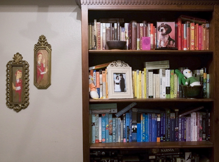 Nick and Erin Potter's color coded book shelf