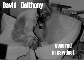 David Delthony sanding one of his chairs